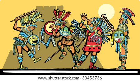Battle for sacrifices inspired by Mayan Murals. - stock vector