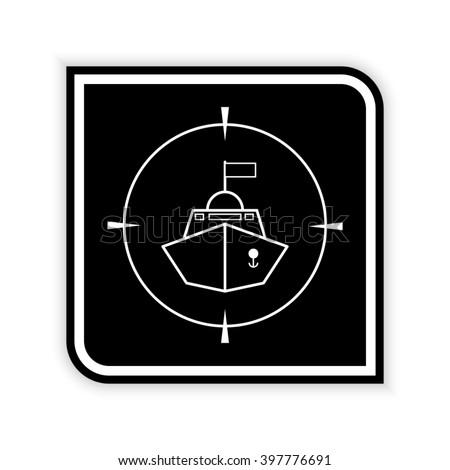 Battle ship  - black vector icon - stock vector