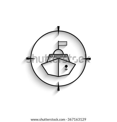 Battle ship - black vector  icon with shadow - stock vector