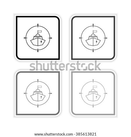 Battle ship  - grayscale vector icon - stock vector