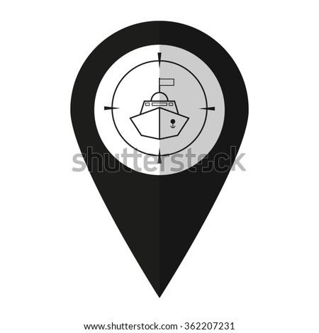 Battle ship - vector icon;  black map pointer - stock vector