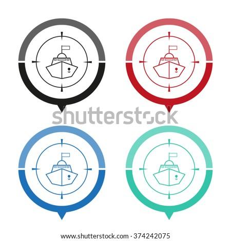 Battle ship - vector icon; map pointer;  message bubble - stock vector