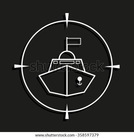 Battle ship -  vector icon with shadow - stock vector