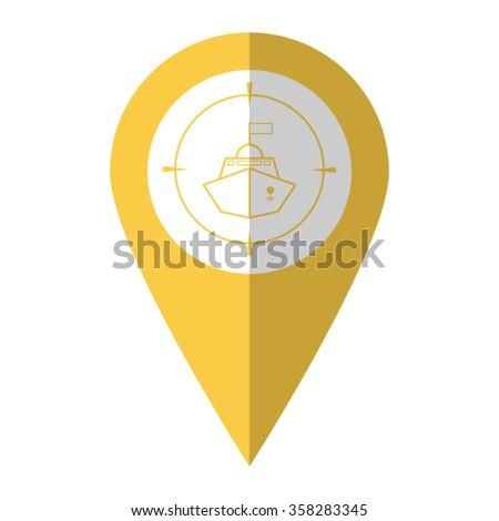 Battle ship - vector icon;  yellow map pointer - stock vector
