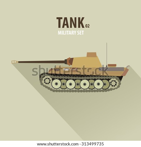 Battle Tank in Side View, military vector illustration, flat design - stock vector