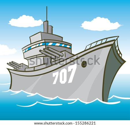 battleship in water with guns pointed illustration - stock vector