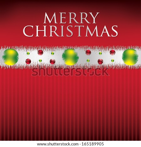 Bauble and tinsel garland Christmas card in vector format. - stock vector