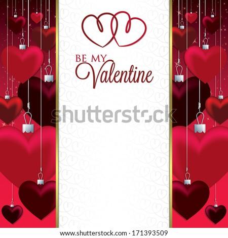 Bauble heart Valentine card in vector format. - stock vector