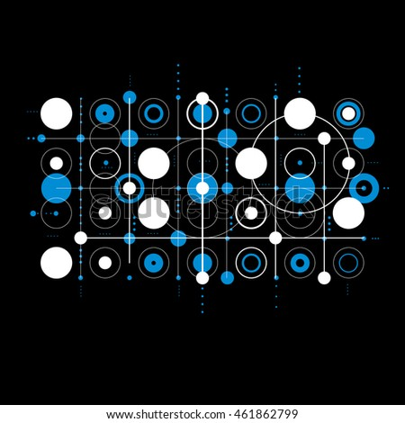 Bauhaus art composition, decorative modular blue vector wallpaper with circles and grid. Retro style pattern, graphic backdrop for use as booklet cover template.