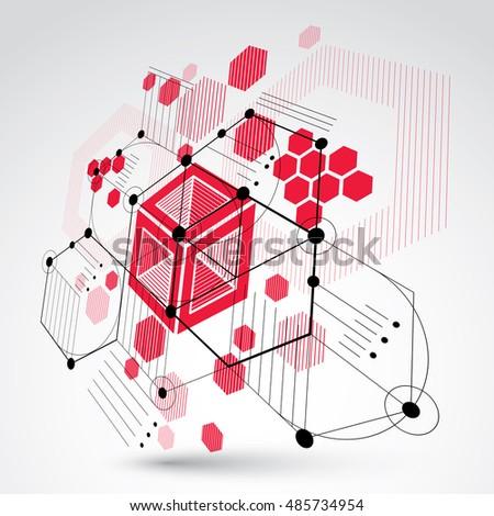 Bauhaus art 3 d modular red vector vector de stock485734954 bauhaus art 3d modular red vector wallpaper made using hexagons and circles retro style malvernweather Gallery
