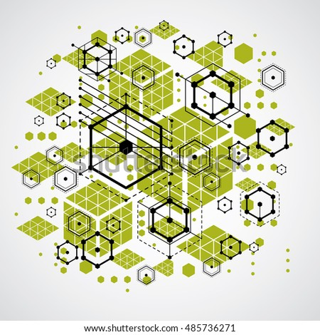 Bauhaus Retro Wallpaper Art Vector Green Background Made Using Grid Circles And Rhombuses