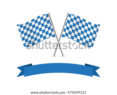 Bavaria flags and banner. Vector illustration.