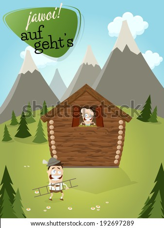 bavarian admirer is climbing to his girl and text that means yes let's go - stock vector