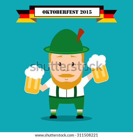 Bavarian festival Oktoberfest. man in traditional costume with beer. - stock vector