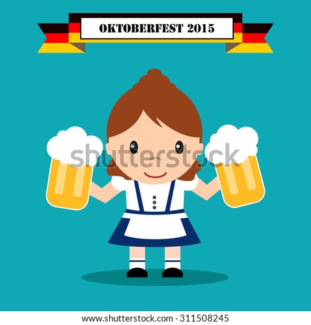 Bavarian festival Oktoberfest. woman in traditional costume with beer. - stock vector