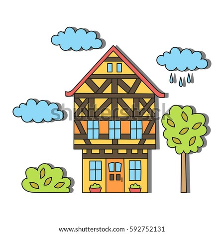 Bavarian german european house doodle vector illustration cute colorful
