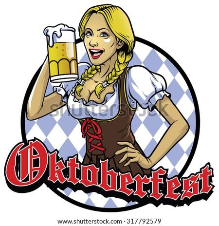 bavarian girl with a glass of beer celebrating oktoberfest - stock vector