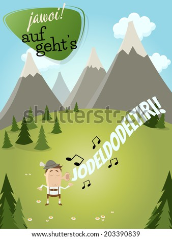 bavarian man is singing and a text that means yes let's go - stock vector