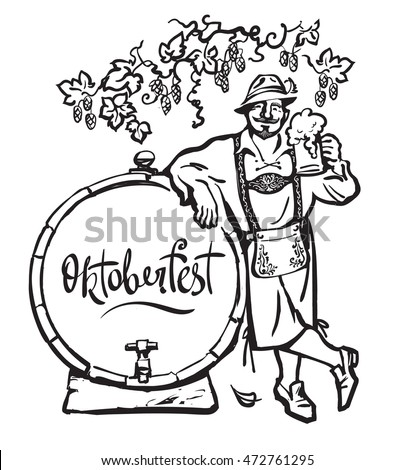 Bavarian man with beer mug, smiling, leaning on barrel under the branches of hops.  Hand-lettering text. October fest illustration. Hand drawn vector in sketch style isolated on white background.
