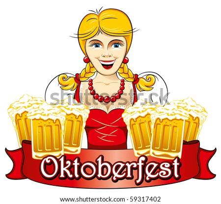 Bavarian Oktoberfest beauty girl with beer, detailed vector illustration - stock vector