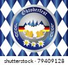 Bavarian Oktoberfest button with beer mugs - stock vector