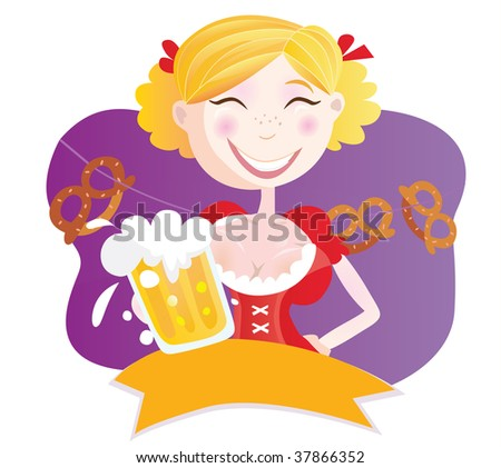 Bavarian woman with beer. Oktoberfest bavarian woman in traditional clothes with beer. Vector Illustration.
