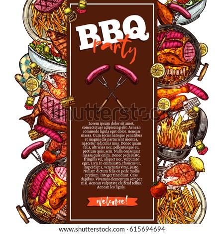 bbq grill background barbecue party invitationのベクター画像素材