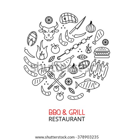 Bbq and grill line art. Different food icons collected in circle. Creative concept for restaurant and cafe.