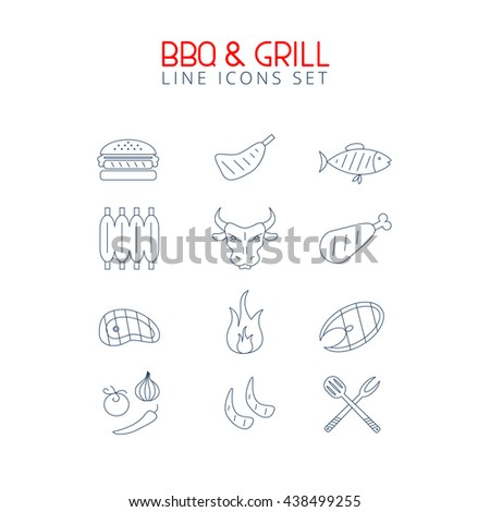 Bbq and grill line icons set. Minimalistic food elements for web and prints.