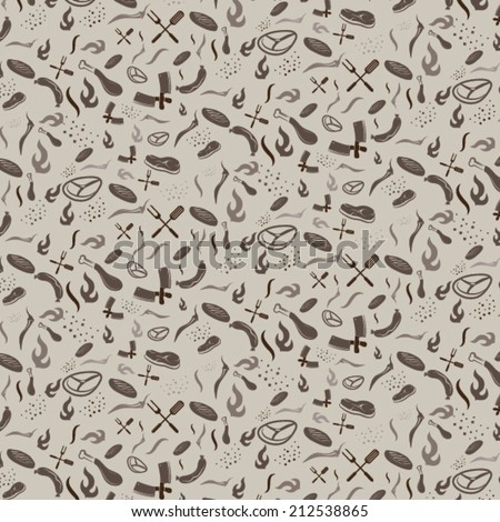 bbq and grill seamless pattern - stock vector