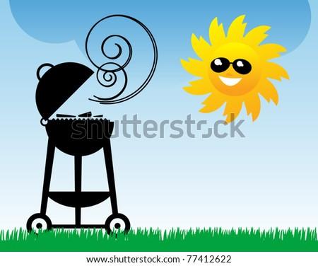BBQ and Sun, vector illustration - stock vector