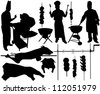 BBQ (barbecue), chef, spit, pork, beef, skewer vector silhouettes. Layered. Fully editable - stock photo