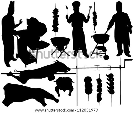 BBQ (barbecue), chef, spit, pork, beef, skewer vector silhouettes. Layered. Fully editable - stock vector