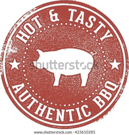 BBQ Barbecue Pork Menu Stamp - stock vector