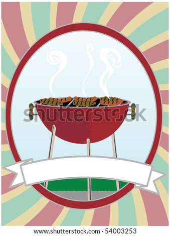 BBQ cooking hot dogs and hamburgers inside swirl oval - stock vector