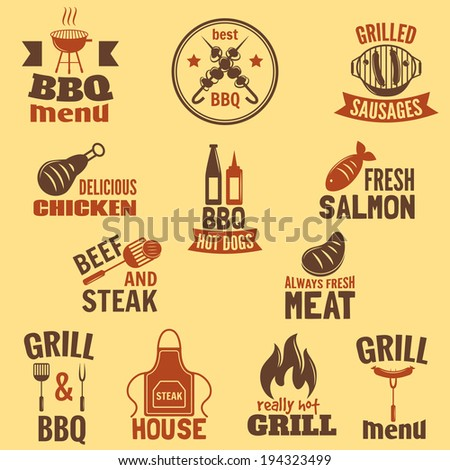 Bbq grill label best premium quality fish and meat barbeque set isolated vector illustration - stock vector