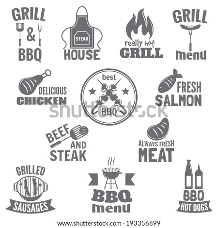 Bbq grill label steak fish and meat restaurant menu set isolated vector illustration - stock vector
