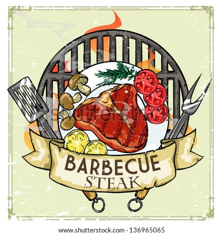 BBQ Grill logo design - Barbecue Collection Vector Illustration with sample text - stock vector