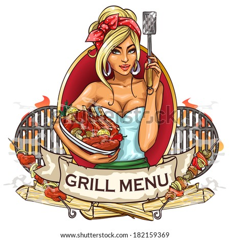 BBQ Grill Party label design with ribbon banner and sample text. - stock vector