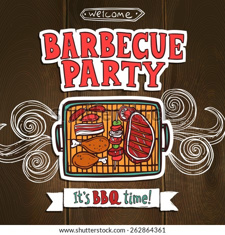Bbq grill party poster with sketch meat and shaslick food vector illustration - stock vector
