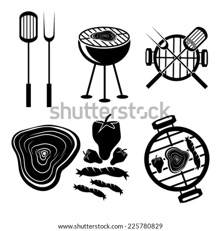 BBQ grill vector labels collection - stock vector