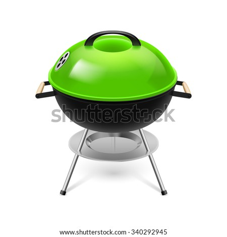 BBQ grill with  green cap isolated on white