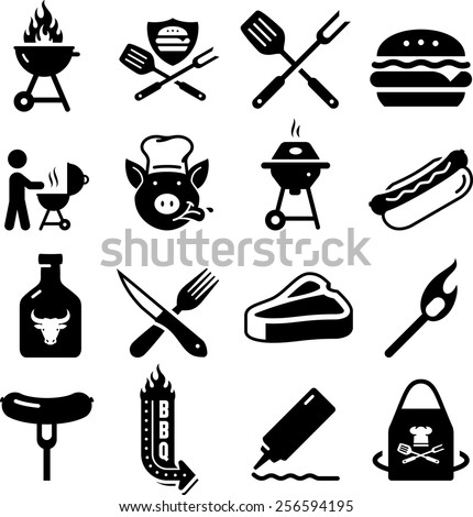 BBQ, grilling, and tailgating icon set.  - stock vector