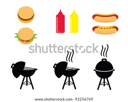 BBQ Icons. Barbecue icons that include hamburgers, hotdogs, ketchup & mustard bottles and bbq grill (opened, cooking open and cooking closed). - stock vector