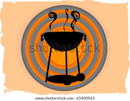 BBQ inside abstract circle bullseye like grungy boarder - stock vector