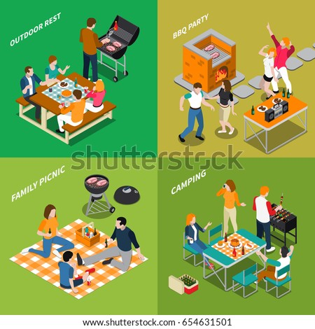 Bbq isometric compositions with outdoor rest, party with dancing, family picnic, camping, grill equipment isolated vector illustration