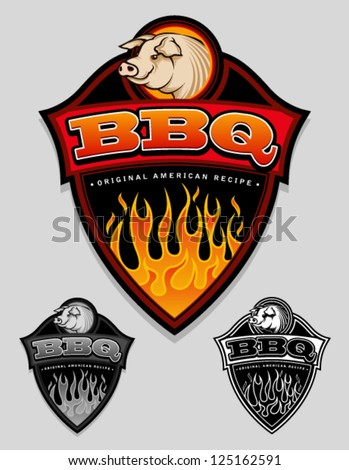 BBQ - Original American Recipe Emblem / Label - stock vector