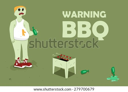 BBQ party. Alcohol and meat for peoples. - stock vector