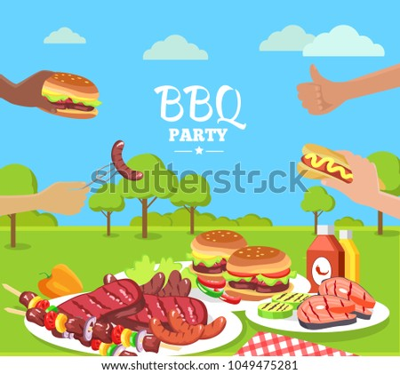 bbq party colorful poster cute summer 1049475281 shutterstock. Black Bedroom Furniture Sets. Home Design Ideas