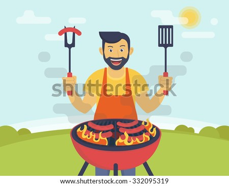 BBQ party. Flat illustration of smiling guy is cooking sausages barbecue outdoors. Funny hipster wearing beard is cooking bbq for his friends - stock vector